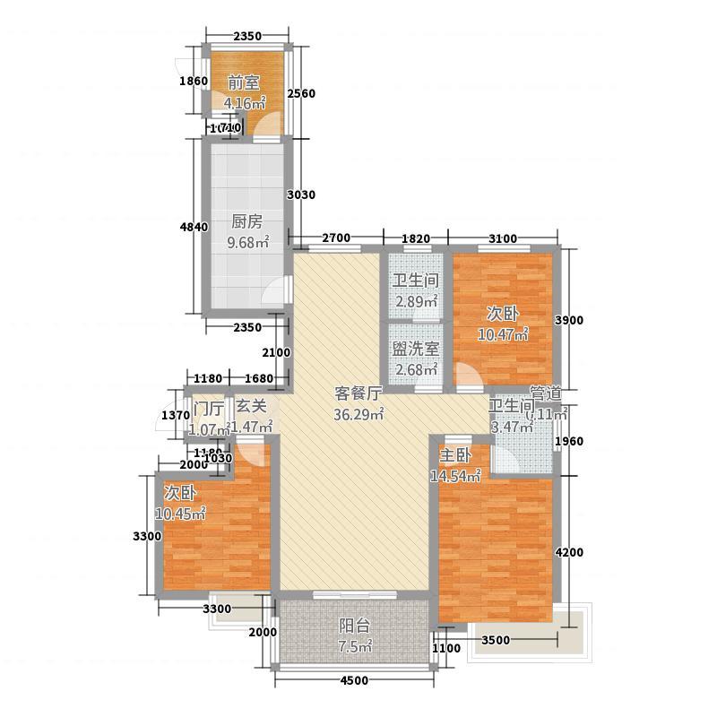 鸿泰金地苑143m²户型