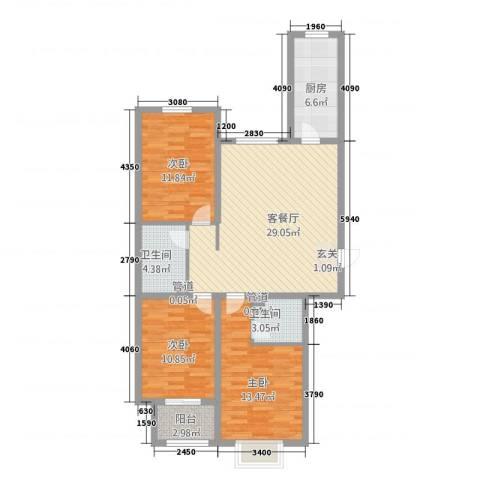 南海国际3室1厅2卫1厨118.00㎡户型图