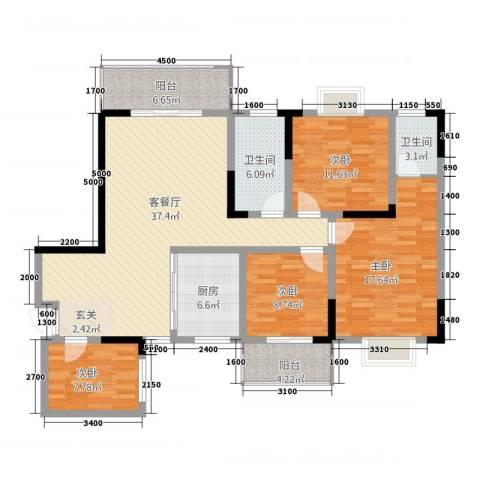 长虹百花沁苑4室1厅2卫1厨143.00㎡户型图
