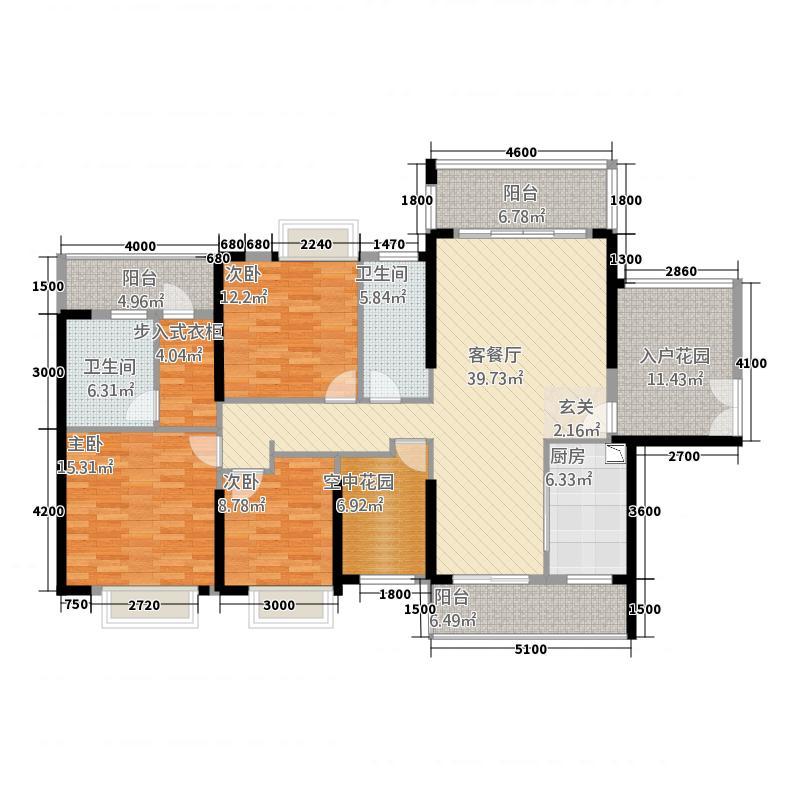 明景・江南世家121.34㎡10号楼06户型4室2厅2卫1厨