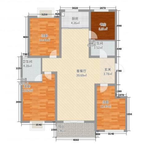 星河城4室1厅2卫1厨142.00㎡户型图