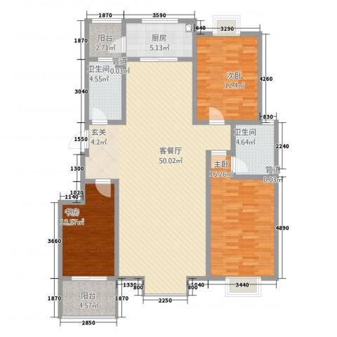 星河城3室1厅2卫1厨157.00㎡户型图