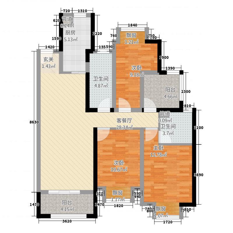 环太湖艺术城德郡124.00㎡22#、23#标准层户型4室2厅2卫1厨