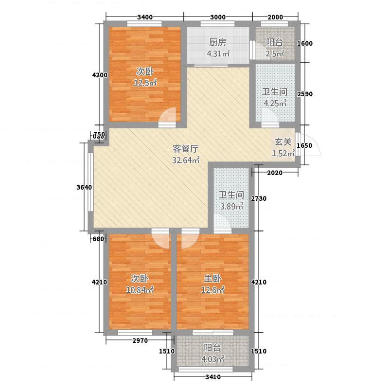 融强御品126.40㎡2A户型3室2厅2卫1厨