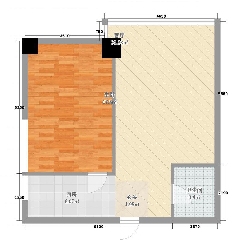 QQ生活馆53.00㎡户型1室