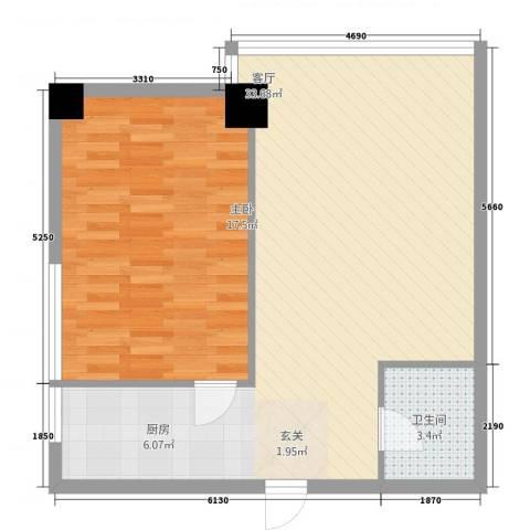 QQ生活馆1室1厅1卫0厨54.39㎡户型图