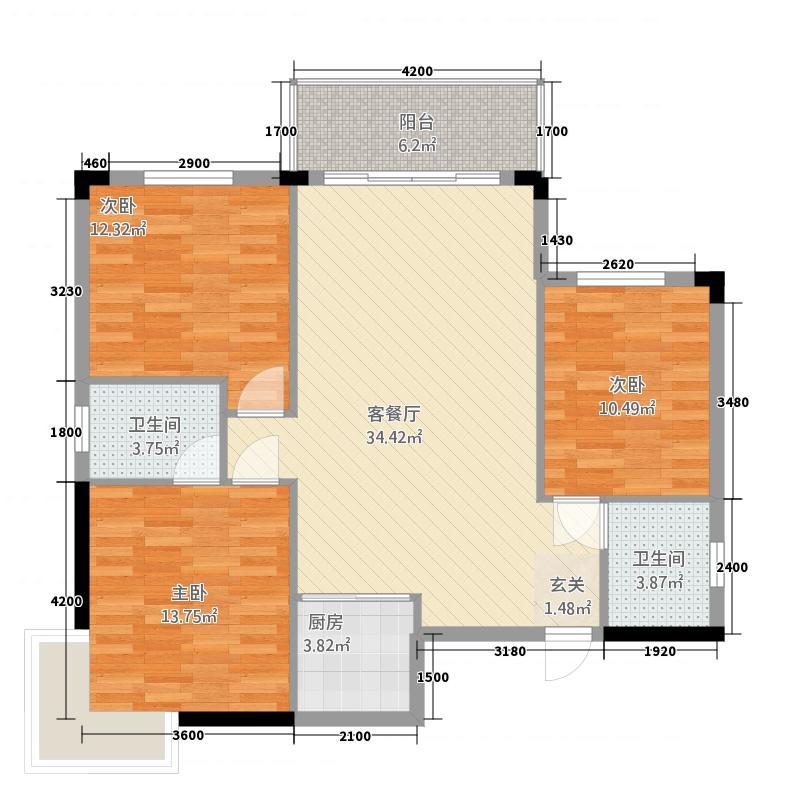 豫才社区户型3室2厅1卫1厨
