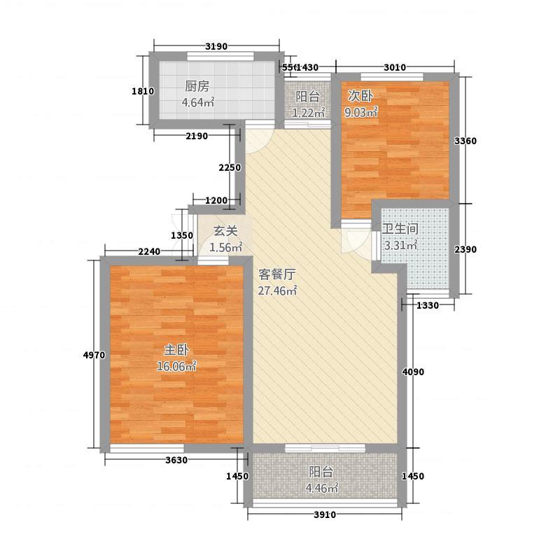 豪润・公园天下5.82㎡A4(9582)户型2室2厅1卫1厨