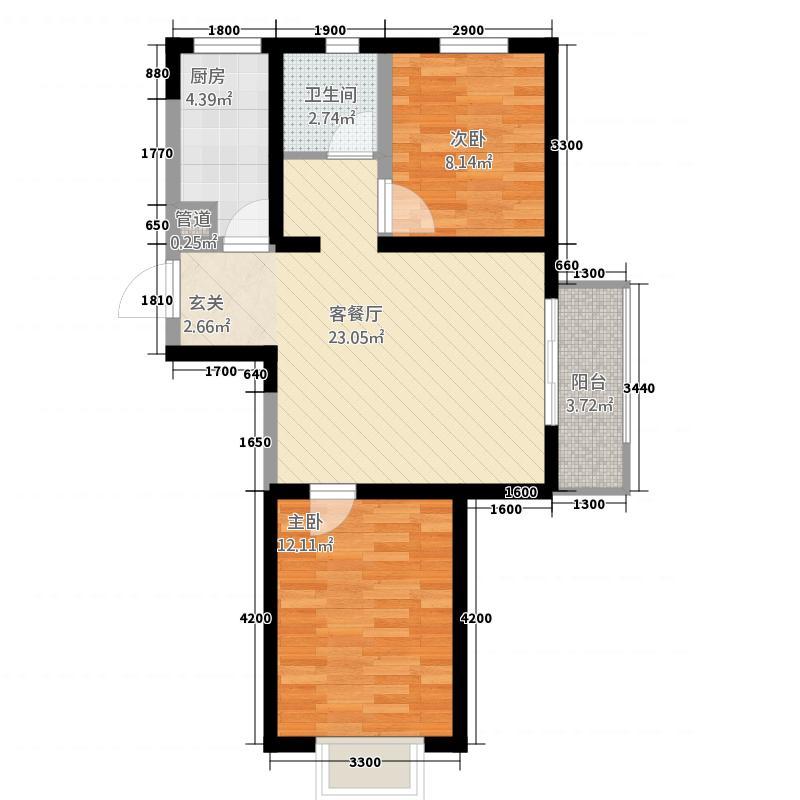 锦绣园38585.20㎡-A户型2室2厅1卫1厨