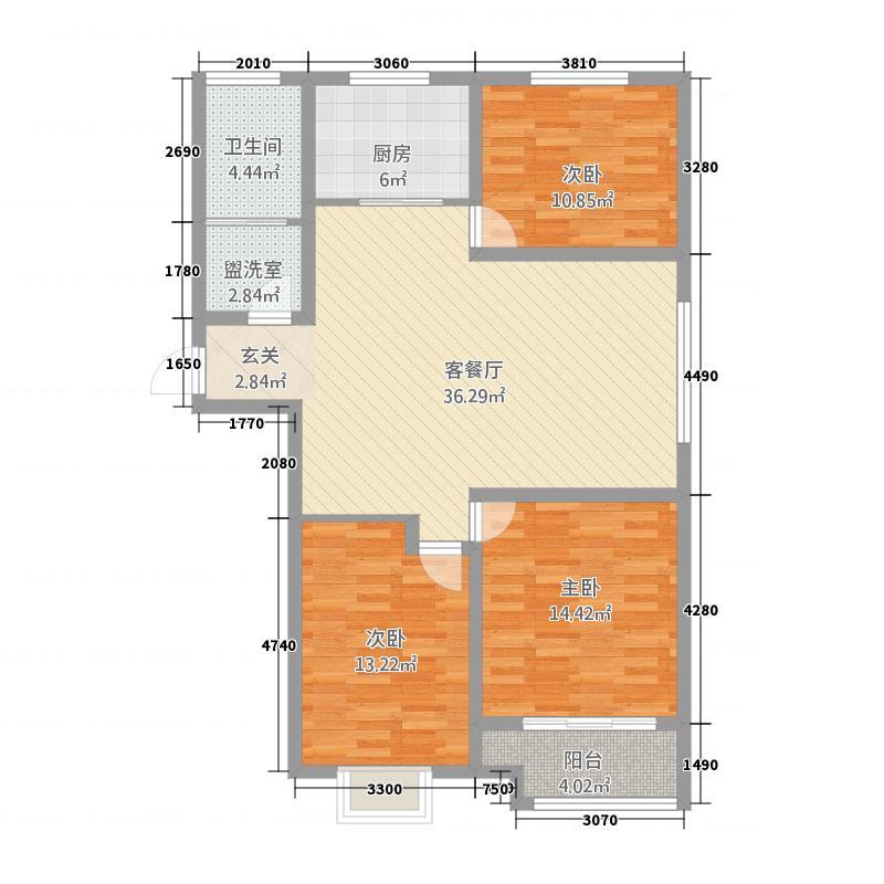 腾辉・书香苑128.00㎡a户型3室2厅1卫1厨