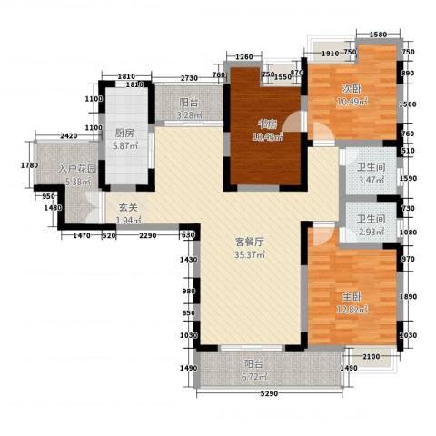 书香门第3室1厅2卫1厨118.00㎡户型图