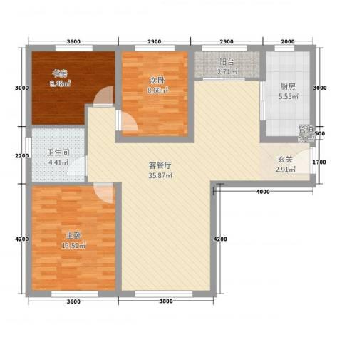 华业玫瑰东方Ⅱ期3室1厅1卫1厨113.00㎡户型图