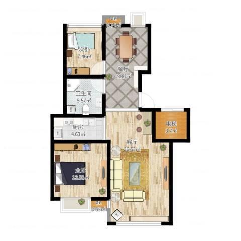 复地新都国际2室1厅1卫1厨107.00㎡户型图