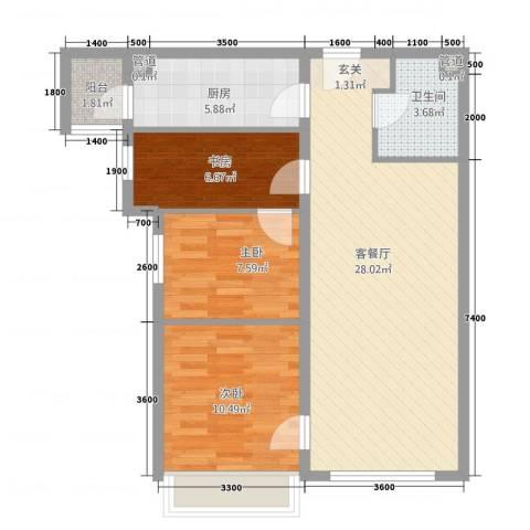 华业玫瑰东方Ⅱ期3室1厅1卫1厨92.00㎡户型图