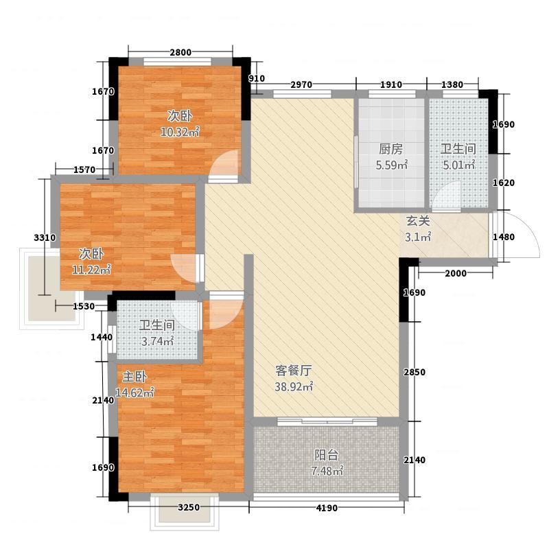 鑫佳玫瑰园13.70㎡A1户型3室2厅2卫1厨