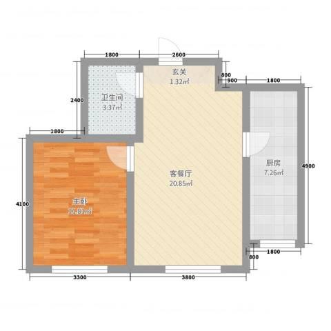 金城・御景1室1厅1卫1厨63.00㎡户型图