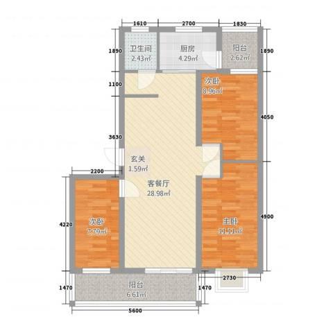 凤凰花园3室1厅1卫1厨72.80㎡户型图