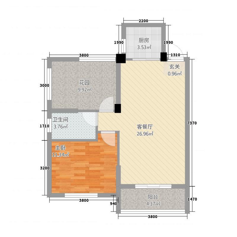 昊城景都二期85.36㎡K2户型1室2厅1卫1厨