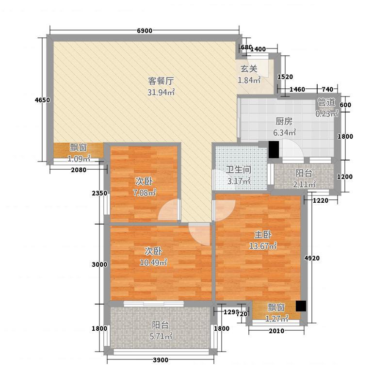 楚荣・首府8.15㎡户型3室2厅1卫1厨