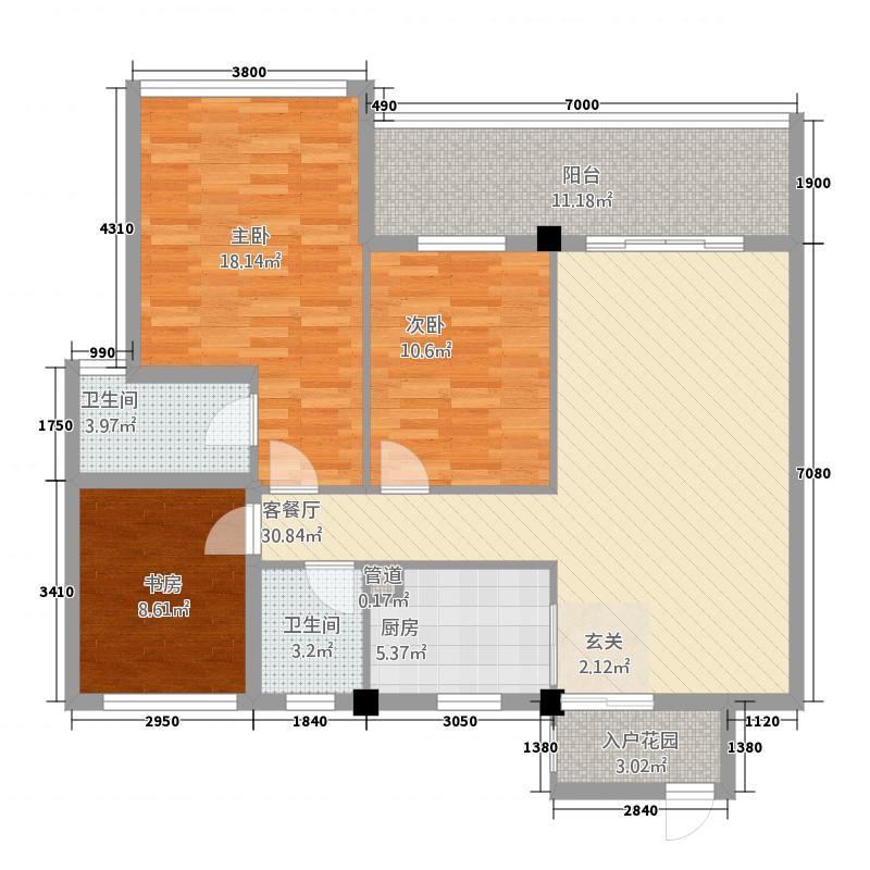 湘辉・壮锦花园12.00㎡B户型3室2厅2卫1厨