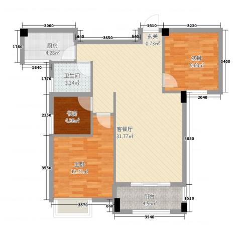 冠捷・观邸3室1厅1卫1厨70.65㎡户型图