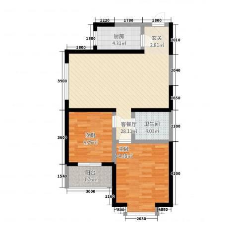 香诗美林2室1厅1卫1厨92.00㎡户型图