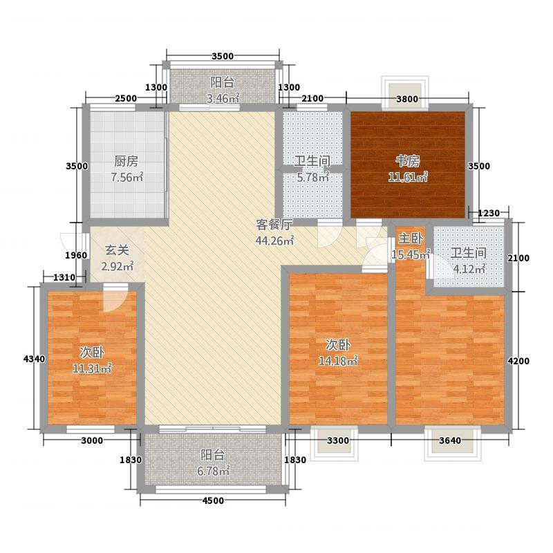 日月星城156.00㎡N户型4室2厅2卫1厨