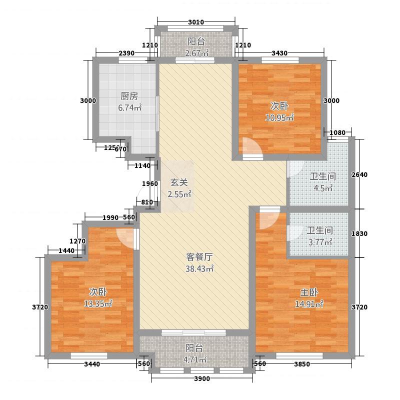 永泰・天泽园143.00㎡H1-B-01户型3室2厅2卫1厨