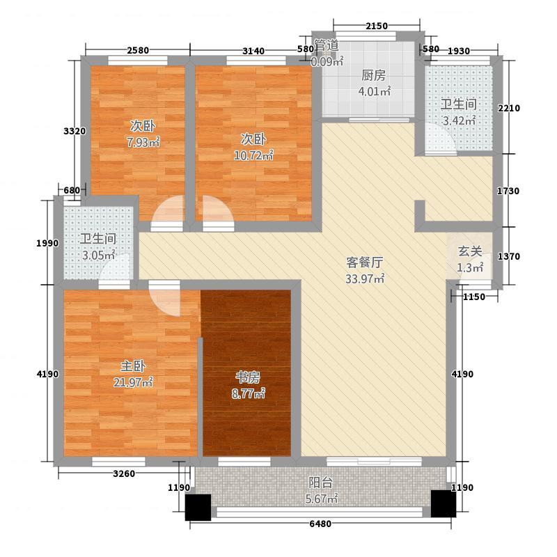新天地花园132.00㎡D未来世家户型3室2厅2卫1厨