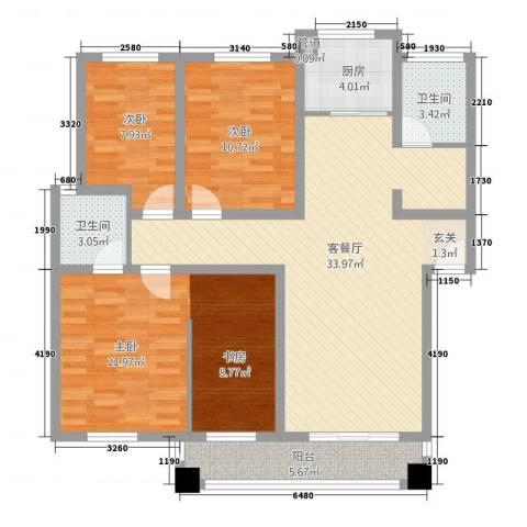 新天地花园3室1厅2卫1厨132.00㎡户型图