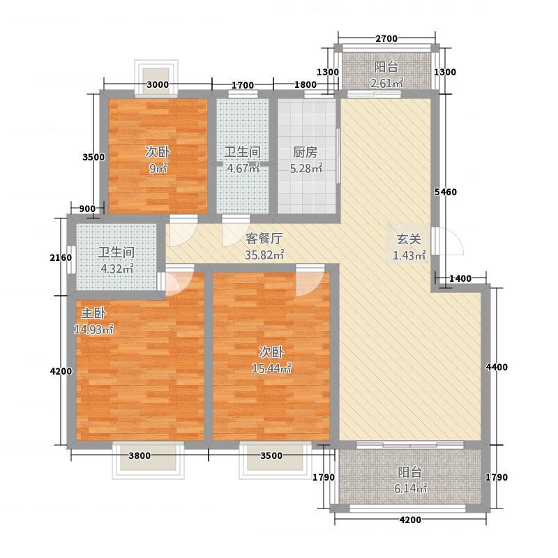 日月星城123.66㎡J户型3室2厅2卫1厨