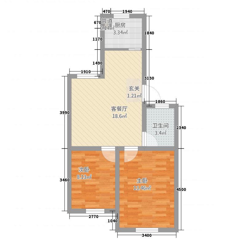 龙城国际花园68.00㎡户型2室2厅1卫