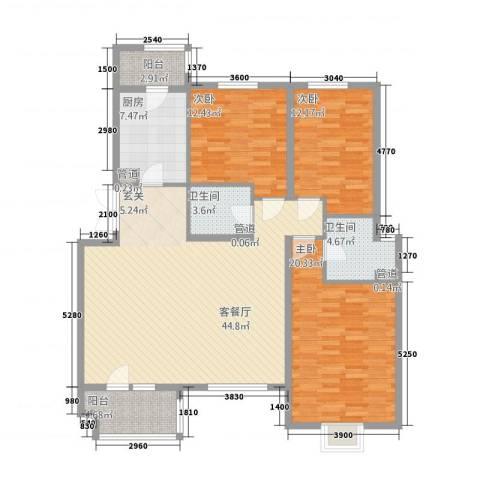 金色漫香林别墅3室1厅2卫1厨159.00㎡户型图