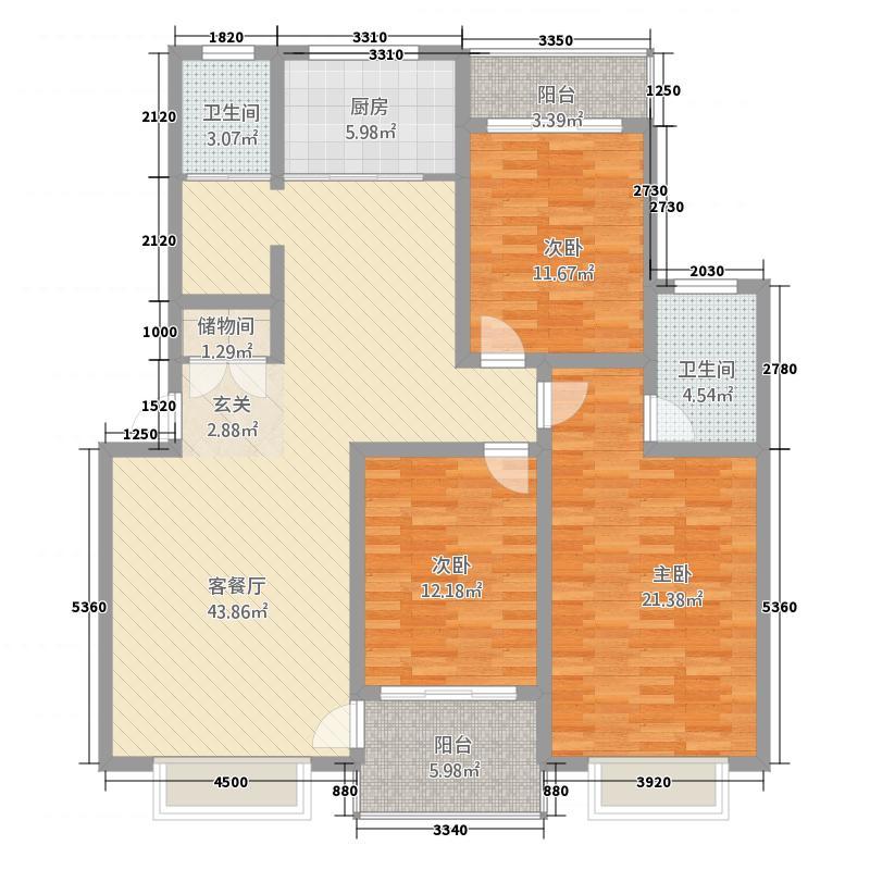 杨桥新镇东风商贸城A户型3室3厅3卫1厨