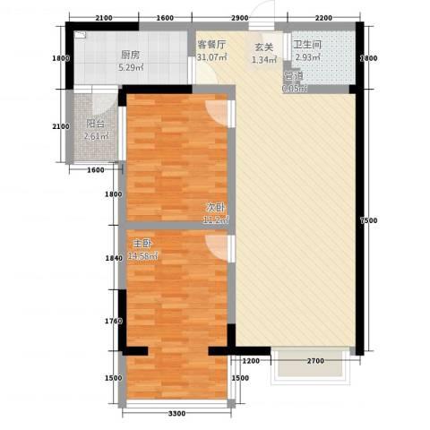 长城非常生活2室1厅1卫1厨98.00㎡户型图