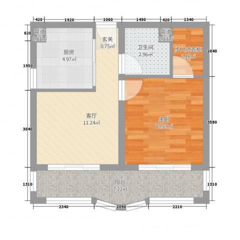 新天地花园1室1厅1卫1厨58.00㎡户型图