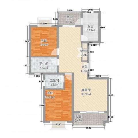 上海阳城2室1厅2卫1厨92.80㎡户型图