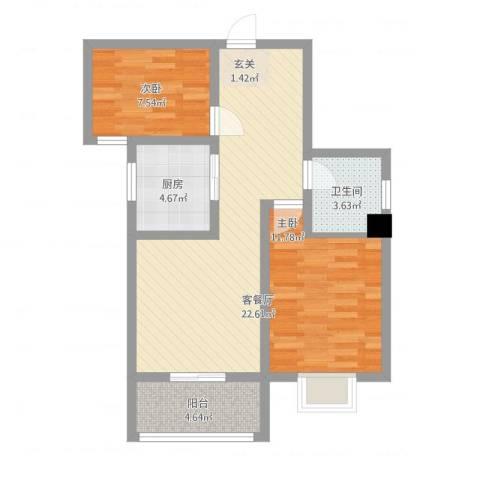 水沐楼台公寓2室1厅1卫1厨81.00㎡户型图