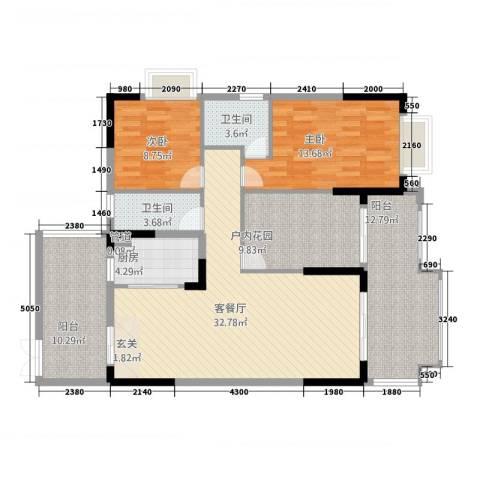 人和春天花园2室1厅2卫1厨99.78㎡户型图