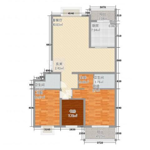 西港国际花园3室1厅2卫1厨148.00㎡户型图