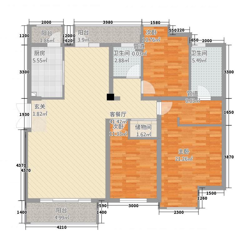 金地国际花园143.00㎡偶数层B户型3室2厅2卫