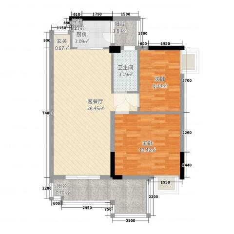 山水华庭2室1厅1卫1厨86.00㎡户型图