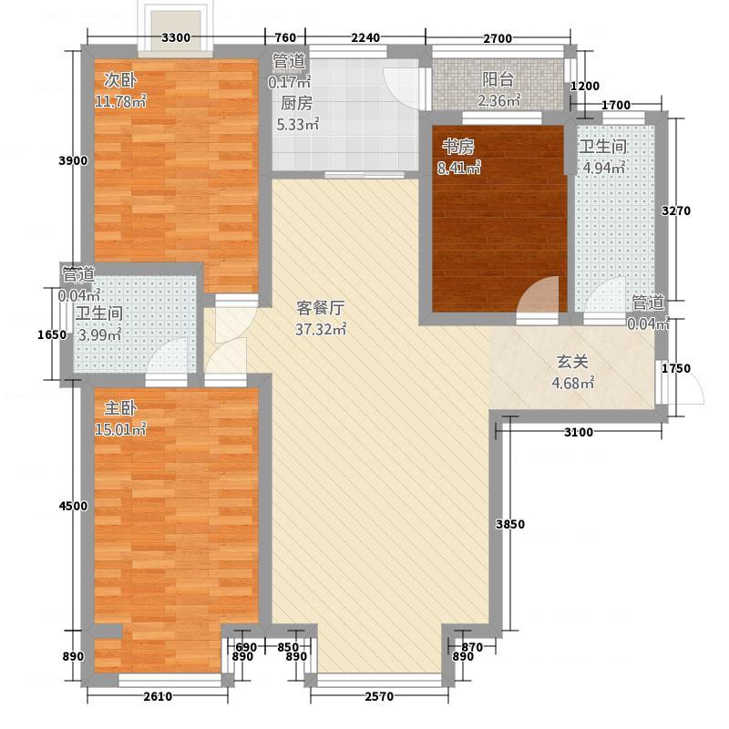 双安城128.00㎡户型3室