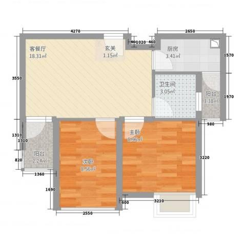 中梁英伦印象2室1厅1卫1厨64.00㎡户型图