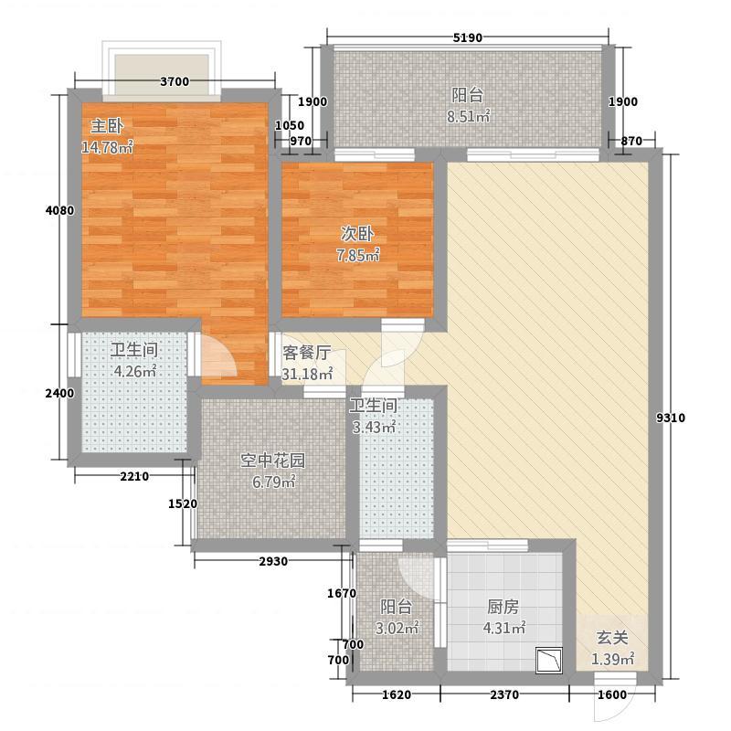 恒立・恒顺星城14.20㎡两104户型2室2厅2卫1厨