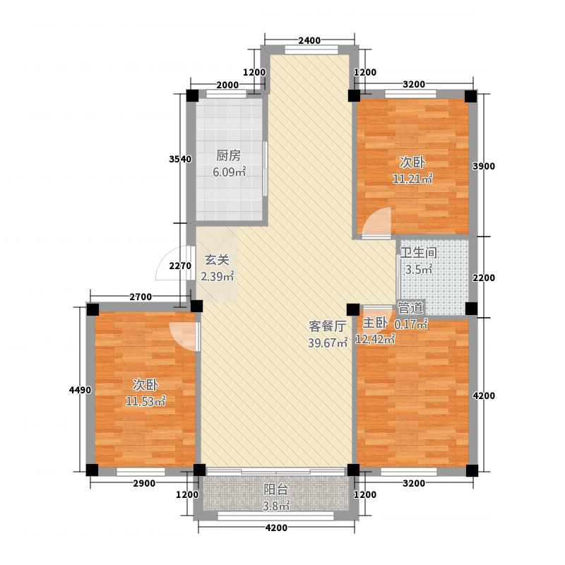 亿豪金城115.71㎡户型3室2厅1卫1厨