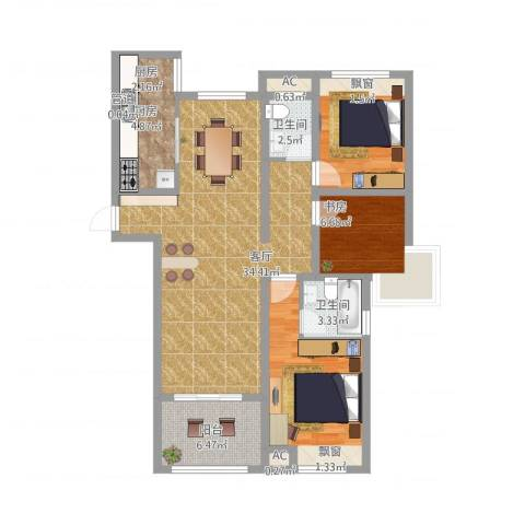 天瑞绿洲3室1厅2卫2厨122.00㎡户型图