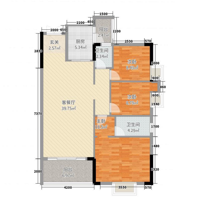 信和园123.00㎡02-03户型3室2厅2卫1厨