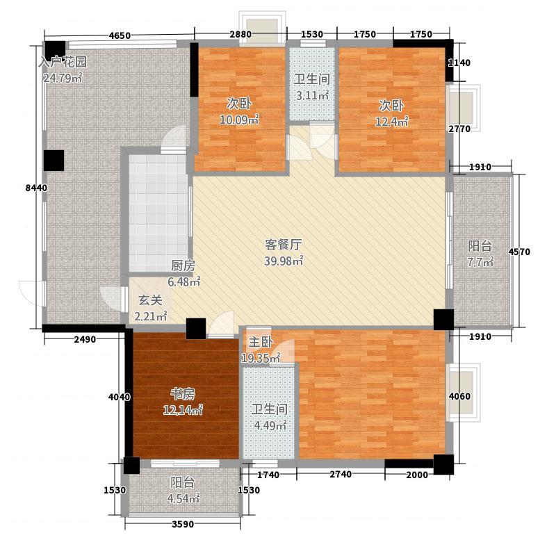 东信首府B栋B单元户型4室2厅1厨