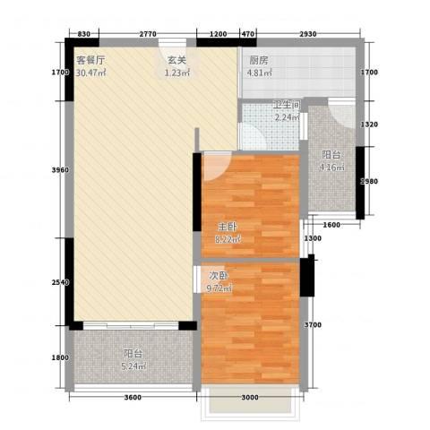 嘉豪园二期2室1厅1卫1厨64.86㎡户型图